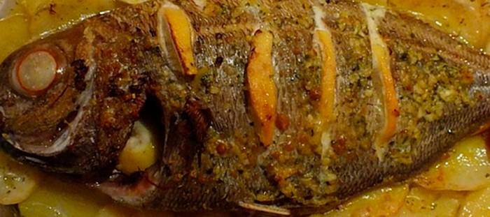 Baked sea bream in kamado